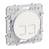 RJ45 data socket, center plate + fixing frame, double, White