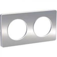 Cover frame Odace Touch, Metal brushed aluminium, 2 Gang