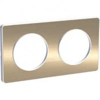 Cover frame Odace Touch, Metal brushed bronze, 2 Gang