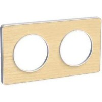 Cover frame Odace Touch, Wood nordic, 2 Gang