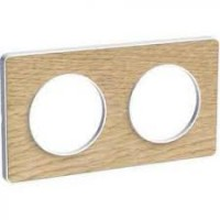 Cover frame Odace Touch, Wood nature, 2 Gang
