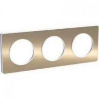 Cover frame Odace Touch, Metal brushed bronze, 3 Gang