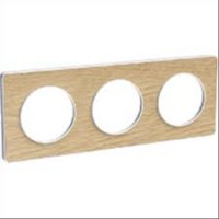Cover frame Odace Touch, Wood nature, 3 Gang