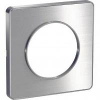 Cover frame Odace Touch Aluminium, Metal brushed aluminium, 1 Gang