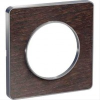 Cover frame Odace Touch Aluminium, Wood wengue, 1 Gang