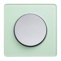 Cover frame Odace Touch Aluminium, Translucide ice green, 1 Gang