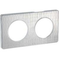 Cover frame Odace Touch Aluminium, Aluminium brushed croco, 2 Gang