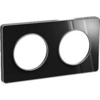 Cover frame Odace Touch Aluminium, Aluminium glossy fume, 2 Gang