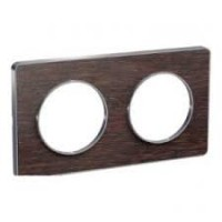Cover frame Odace Touch Aluminium, Wood wengue, 2 Gang