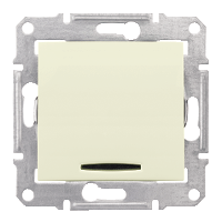 2-pole Switch 16 AX -250 V AC with red indicator lamp, Beige