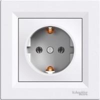 Single Socket-outlet (side earth), White