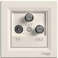 TV-SAT-SAT Antenna outlet IEC male + F + F, Ending (1dB), Cream
