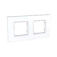 Cover Frame Unica Quadro, White, 2 gangs