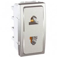 Euroamerican Socket-outlet 10/16 A, 2P, Aluminium