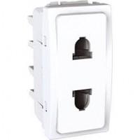 Euroamerican Socket-outlet, shuttered, 10/16 A, 2P, White