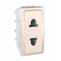Euroamerican Socket-outlet, shuttered, 10/16 A, 2P, Ivory