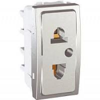 Euroamerican Socket-outlet, 10/16 A, 2P+E, Aluminium