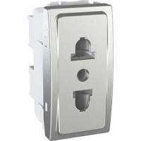 Euroamerican Socket-outlet, 10 A 2P+centred E, shuttered, Aluminium