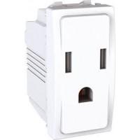 American Socket-outlet 10/16 A, 2P+E, shuttered, White
