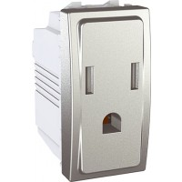 American Socket-outlet 10/16 A, 2P+E, shuttered, Aluminium