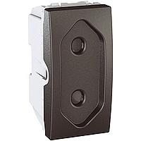 Euroamerican Socket-outlet 10 A, 2P, shuttered, Graphite