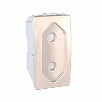 Euroamerican Socket-outlet 10 A, 2P, shuttered, Ivory