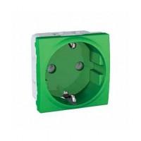 SCHUKO® Socket-outlet 10/16 A, 2P+E, shuttered, Green