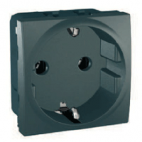 SCHUKO® Socket-outlet 10/16 A, 2P+E, shuttered, Graphite