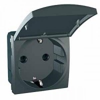 SCHUKO® Socket-outlet 10/16 A, 2P+E, shuttered, with hinged flap, Graphite