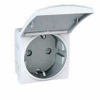 SCHUKO® Socket-outlet 10/16 A, 2P+E, shuttered, with hinged flap, White
