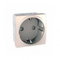 SCHUKO® Socket-outlet 10/16 A, 2P+E, shuttered, Ivory