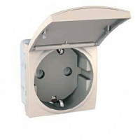 SCHUKO® Socket-outlet 10/16 A, 2P+E, shuttered, with hinged flap, Ivory