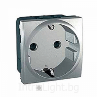 SCHUKO® Socket-outlet 10/16 A, 2P+E, shuttered, Aluminium