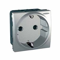 SCHUKO® Socket-outlet 10/16 A, 2P+E, shuttered, with lamp, Aluminium