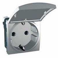 SCHUKO® Socket-outlet 10/16 A, 2P+E, shuttered, with hinged flap, Aluminium