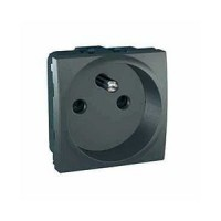 French Socket-outlet 10/16 A, 2P+E, shuttered, Graphite