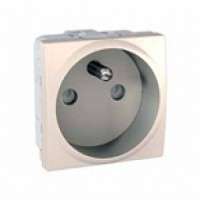French Socket-outlet 10/16 A, 2P+E, shuttered, Ivory