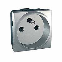 French Socket-outlet 10/16 A, 2P+E, shuttered, Aluminium