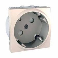 SCHUKO® Socket-outlet, 45° 10/16 A, 2P+E, shuttered, Ivory