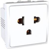 Euroamerican Socket-outlet 16 A, 2P+E, displaced earth, White
