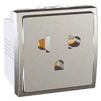 Euroamerican Socket-outlet 16 A, 2P+E, displaced earth, Aluminium