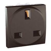 British Socket-outlet, 10/16 A, 2P+E, shuttered, Graphite
