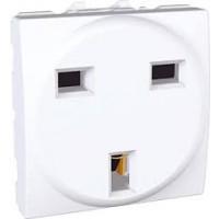 British Socket-outlet, 10/16 A, 2P+E, shuttered, Whitte