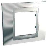 Cover Frame Unica Top, Bright chrome/Aluminium, 1 gang