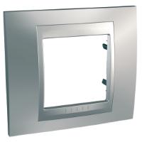 Cover Frame Unica Top, Glossy chrome/Aluminium, 1 gang