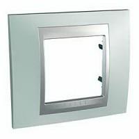 Cover Frame Unica Top, Fluor green/Aluminium, 1 gang