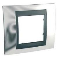 Cover Frame Unica Top, Bright chrome/Graphite, 1 gang