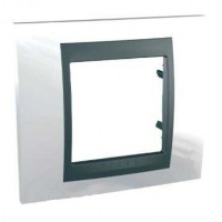 Cover Frame Unica Top, Top white/Graphite, 1 gang