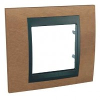 Cover Frame Unica Top, Cherry tree/Graphite, 1 gang