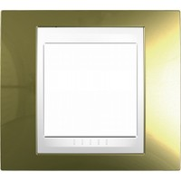Cover Frame Unica Top, Gold/White, 1 gang